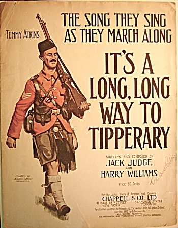 "WWI Sheet Music ""It's a long, long way to Tipperary"" (Image1)"
