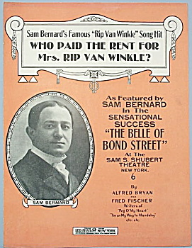 Sheet Music: WHO PAID THE RENT FOR MRS. RIP VAN WINKLE? (Image1)