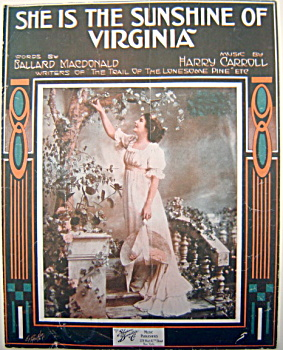 Sheet Music - She Is The Sunshine Of Virginia - 1916.