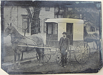 "Tintype – C.1870-1880 ""BIEBER PURE MILK"" wagon. (Image1)"