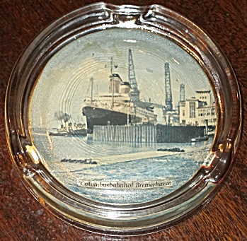 S.s. America - Glass Ashtray With Photo 1961