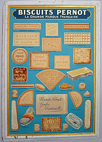 Antique advertising sign 1920s BISCUITS PERNOT Unused! (Image1)