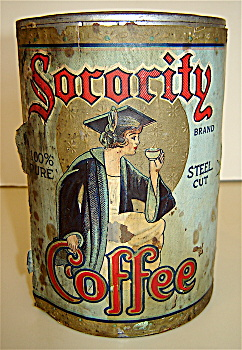 ANTIQUE TIN COFFEE CAN 1920s SORORITY COFFEE, OHIO (Image1)