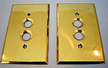 Brass Antique Button Switch Plates C.1900 - pair (Image1)