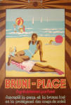 Click here to enlarge image and see more about item 1071: 1934 French suntan oil sign Bruni-Plage