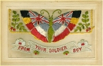 Click here to enlarge image and see more about item 1132: WWI SILK POSTCARD - BUTTERFLY C.1917.