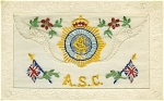 Click here to enlarge image and see more about item 1135: WWI SILK POSTCARD - BRITISH A.S.C.