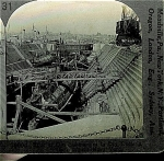 STEREOVIEW - WWI - 4 SUBMARINES IN DRY DOCK.