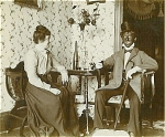 Click here to enlarge image and see more about item 1385: CABINET PHOTO - GENTLEMAN IN BLACKFACE WITH GIRL.