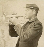 Click here to enlarge image and see more about item 1387: CABINET PHOTO-BUGLER IN UNIFORM - C.1880�s