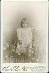 "Click to view larger image of CABINET PHOTO – GIRL IN ""FIELD"" OF DAISIES (Image1)"