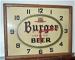 Click to view larger image of Vintage Burger Beer Advertising Clock 1951  (Image1)