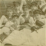 Click here to enlarge image and see more about item 4069: CABINET PHOTO – 1880's BROOM GIRLS - A+