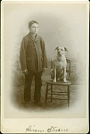 CABINET PHOTO of BOY & HIS DOG C.1880 Stevens