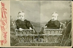 Click to view larger image of Cabinet Photo – Twins in Wicker Stroller (Image1)