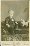 Click to view larger image of Little Guy with Dog Pull Toy C.1880's - Great (Image1)