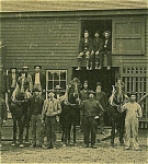 Click to view larger image of CABINET PHOTO - Huge Barn, Firewood, Workmen - RR. (Image1)