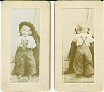 Click here to enlarge image and see more about item 4197: Miniature Cabinet Photos - Little Girl Front & Back.