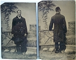Click here to enlarge image and see more about item 4211: Tintype Set – Front & Back Views of Same Man.