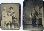 Click here to enlarge image and see more about item 4214: Tintype Pair – Actors in Costume.