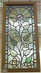 Click to view larger image of Antique Stained Glass Window in Oak Frame (Image1)