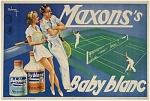 Click here to enlarge image and see more about item 4299: Vintage tennis poster 1940 MAXON�S BABY BLANC
