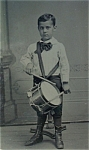 Click here to enlarge image and see more about item 4337: Tintype of Young Boy and Drum C.1860-70.