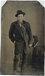 Click here to enlarge image and see more about item 4344: Tintype - Peddler with His Box & Walking Stick.