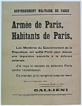 Click here to enlarge image and see more about item 4372:  RARE WWI 1914 Poster Gen. Gallieni Battle of the Marne
