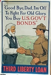 Click here to enlarge image and see more about item 4380: Vintage WWI Poster GOODBYE DAD 1918