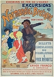 Click to view larger image of Vintage French Rail Poster NORMANDIE & BRETAGNE Meunier (Image1)