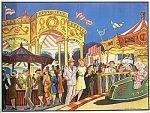 Click here to enlarge image and see more about item 4386: VINTAGE BUMPER CAR POSTER from CIRCUS CARNIVAL 1930s