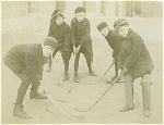 Click to view larger image of CABINET PHOTO � BOYS PLAYING STREET HOCKEY C.1910. (Image1)