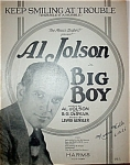 Click to view larger image of Sheet Music - AL JOLSON in BIG BOY. (Image1)
