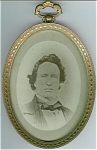 ANTIQUE BRASS FRAME & PHOTOGRAPH - MID-1800'S.