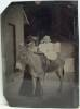 Click to view larger image of Tintype – Mom Holding Baby on Donkey. (Image2)