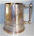 Click here to enlarge image and see more about item 4763: Antique Silver Plated Mug � Gorgeous Handle & Initials