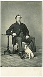 Click here to enlarge image and see more about item 4776: Carte De Visite � Man and dog -  Jack Russell terrier.