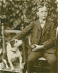 Click here to enlarge image and see more about item 4777: Cabinet Photo � A boy. A dog. A ball.  Delightful image