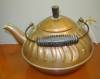 Click to view larger image of Vintage Copper Tea Kettle with Wavy Embossed Design (Image4)