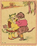 Antique children's book prints Kittie & Doggie 1918