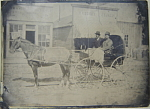Click to view larger image of Tintype – C.1870 Buggy, Gun Store, and Grocery. (Image1)