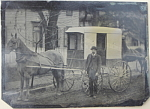 Click here to enlarge image and see more about item 5160: Tintype � C.1870-1880 �BIEBER PURE MILK� wagon.