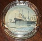 Click here to enlarge image and see more about item 5400: S.S. America - Glass Ashtray with photo 1961