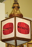 Click here to enlarge image and see more about item 7224: Large copper Watney's lighted pub sign