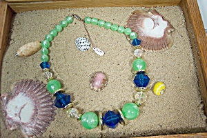 Green, Blue, and Clear Bead Necklace (Image1)