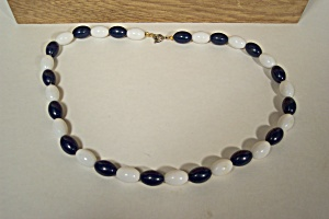 Dark Blue And White Oval bead Necklace (Image1)