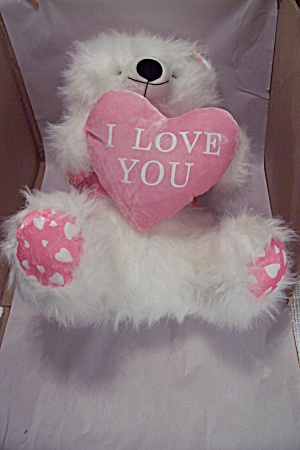 Pink & White Valentine Plush Stuffed Teddy Bear (Image1)