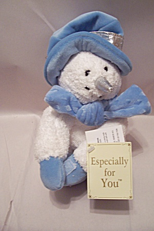 Plush Stuffed White Snowman Dressed Trimmed In Blue