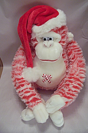 Candy Striped Plush Stuffed Large Monkey (Image1)